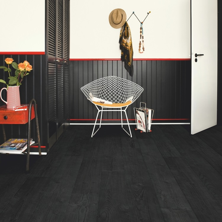 Black Impressive Laminate Burned planks IM1862