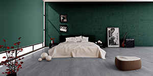Green interior with Quick-Step flooring