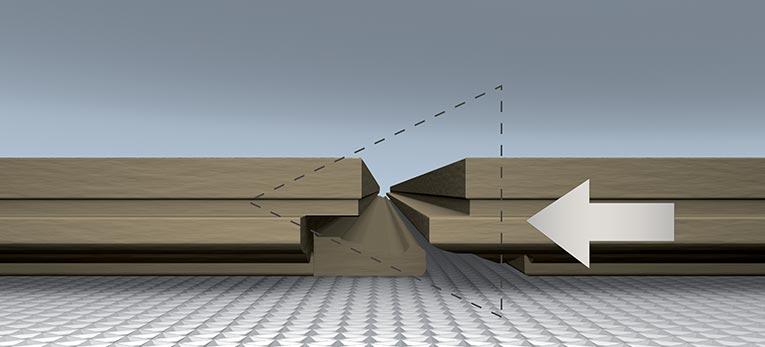 Uniclic Technology for laminate. Method 2: Horizontal insertion