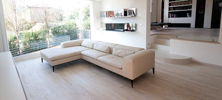 Mark Cavendish' country house feature Hardwood Flooring Variano Painted White Oak Oiled