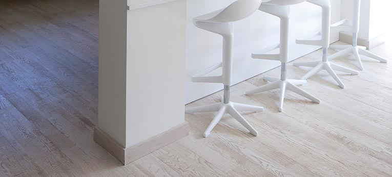 Mark Cavendish' country house feature Hardwood Flooring, Variano Painted White oak oiled