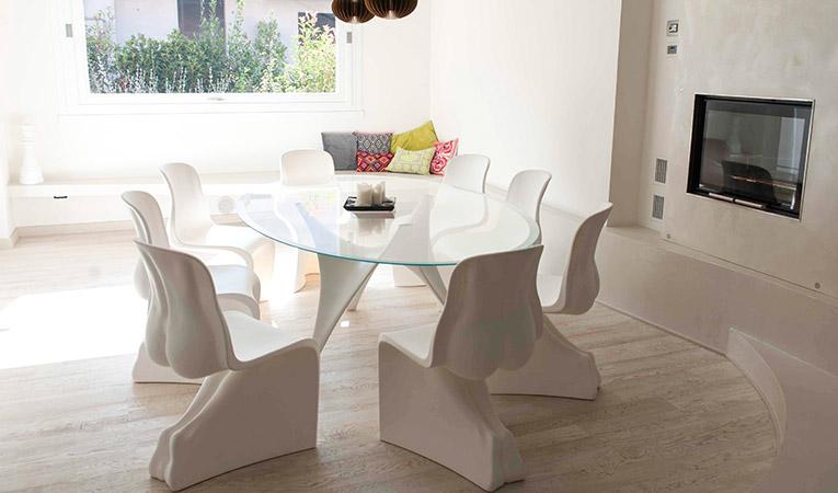 Quick-Step Variano, Painted white oak oiled, multi strip hardwood flooring, dining room