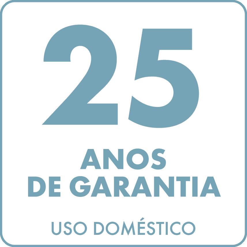 Garantia de 25 anos em uso doméstico