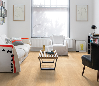 Choose stylish furniture small Tan Beige Laminate Flooring In Modern Living Room Quickstep Four Tips To Help You Choose The Right Floor Colour Quickstepcouk