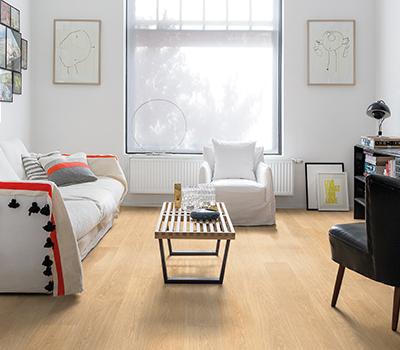 Beige Laminate Flooring In A Modern Living Room
