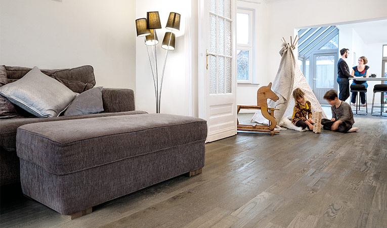 Quick-Step Hardwood Variano, Royal grey oak oiled, multi-strip, living room
